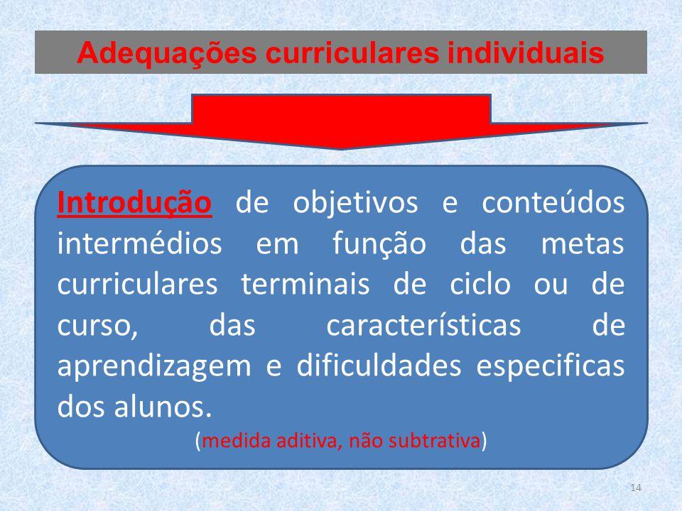 Introdução de objetivos e conteúdos intermédios em função das metas curriculares terminais de ciclo ou de curso, das características de aprendizagem e dificuldades especificas dos alunos.