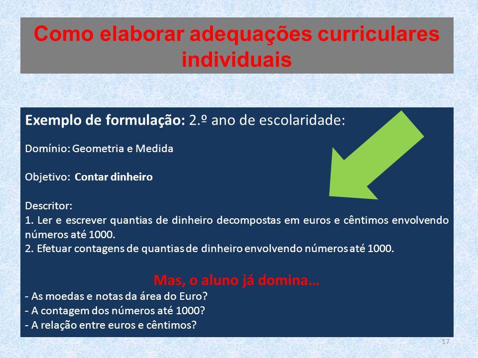 Exemplo de formulação: 2.º ano de escolaridade: Domínio: Geometria e Medida Objetivo: Contar dinheiro Descritor: 1. Ler e escrever quantias de dinheir