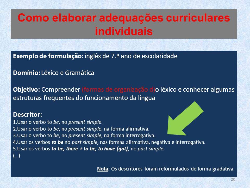 Exemplo de formulação: inglês de 7.º ano de escolaridade Domínio: Léxico e Gramática Objetivo: Compreender (formas de organização d)o léxico e conhece