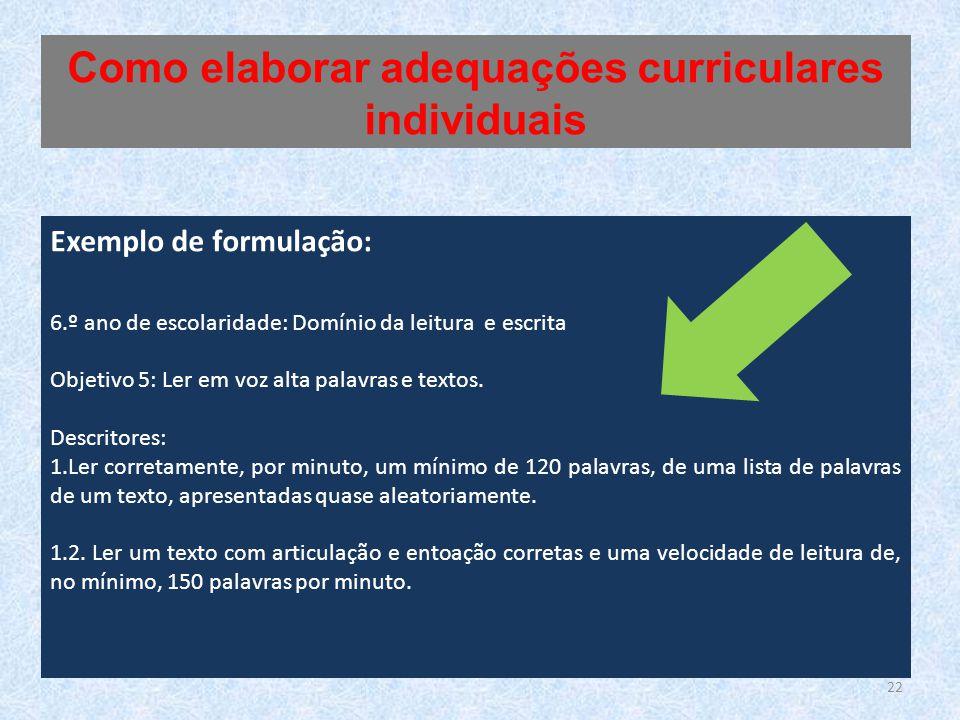 Exemplo de formulação: 6.º ano de escolaridade: Domínio da leitura e escrita Objetivo 5: Ler em voz alta palavras e textos.