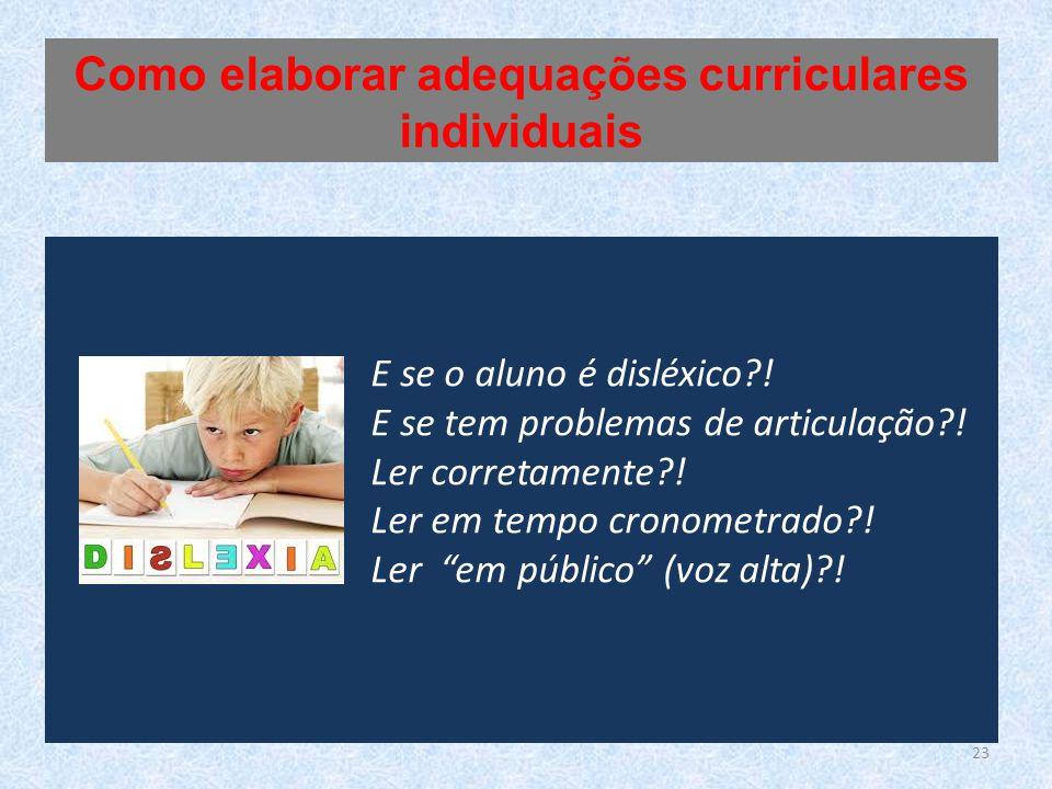 E se o aluno é disléxico?.E se tem problemas de articulação?.