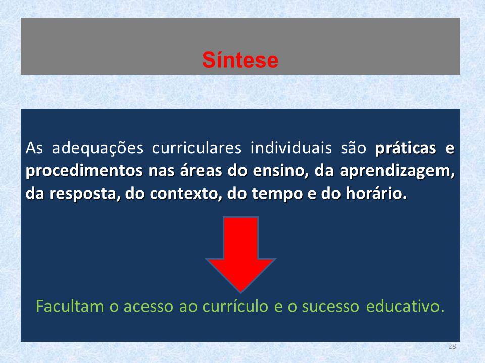 práticas e procedimentos nas áreas do ensino, da aprendizagem, da resposta, do contexto, do tempo e do horário. As adequações curriculares individuais
