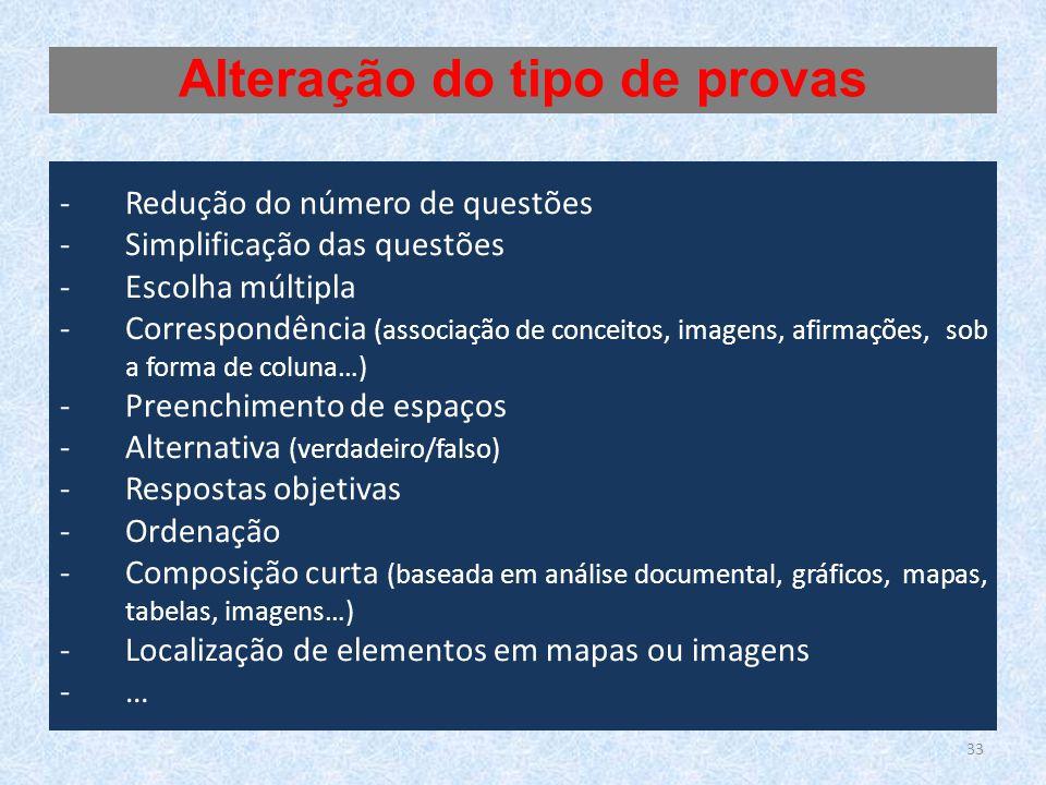 33 -Redução do número de questões -Simplificação das questões -Escolha múltipla -Correspondência (associação de conceitos, imagens, afirmações, sob a
