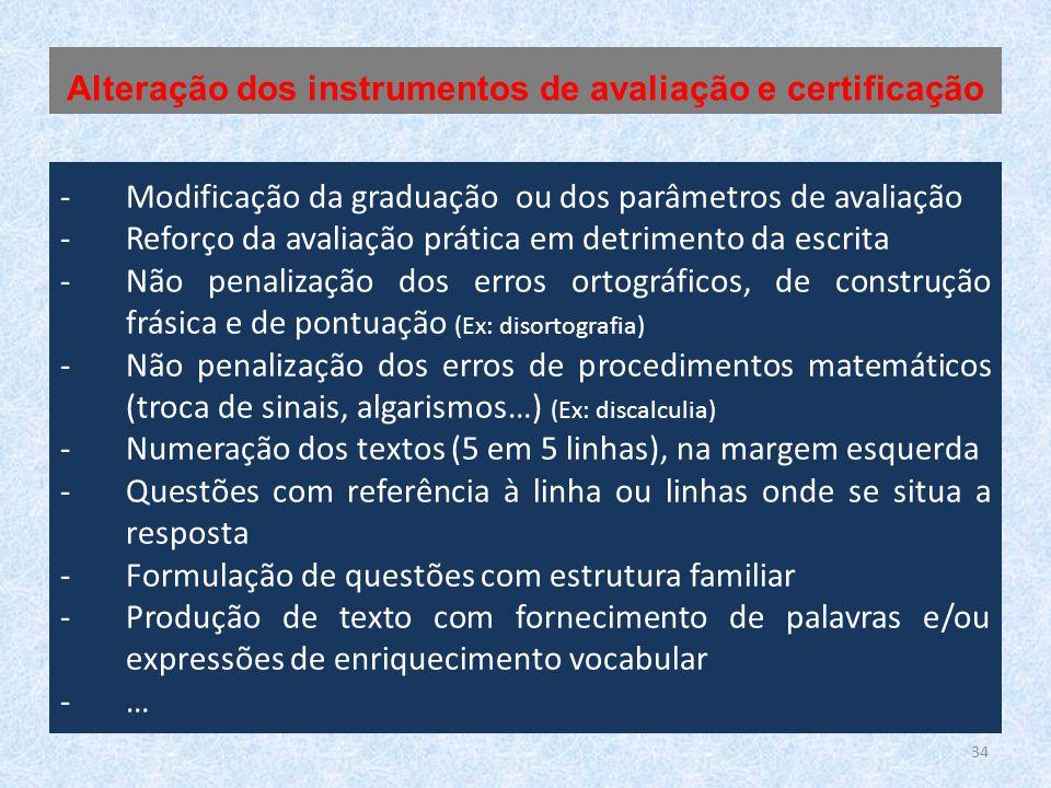 34 -Modificação da graduação ou dos parâmetros de avaliação -Reforço da avaliação prática em detrimento da escrita -Não penalização dos erros ortográficos, de construção frásica e de pontuação (Ex: disortografia) -Não penalização dos erros de procedimentos matemáticos (troca de sinais, algarismos…) (Ex: discalculia) -Numeração dos textos (5 em 5 linhas), na margem esquerda -Questões com referência à linha ou linhas onde se situa a resposta -Formulação de questões com estrutura familiar -Produção de texto com fornecimento de palavras e/ou expressões de enriquecimento vocabular -… Alteração dos instrumentos de avaliação e certificação