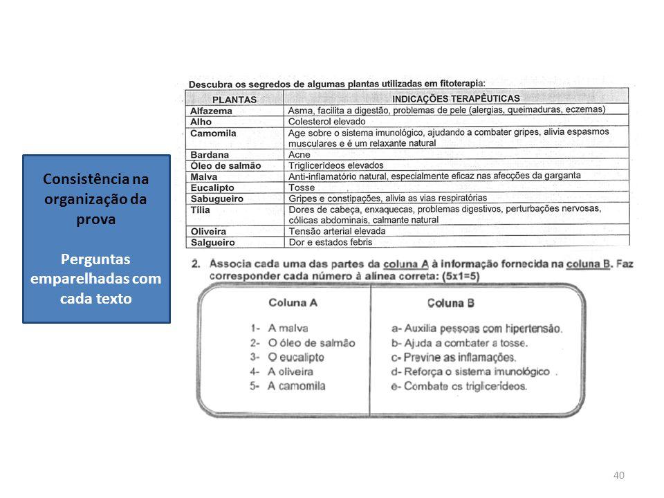 40 Consistência na organização da prova Perguntas emparelhadas com cada texto