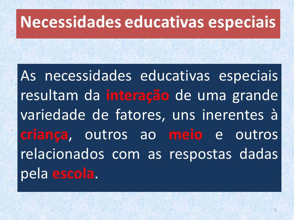 As necessidades educativas especiais resultam da interação de uma grande variedade de fatores, uns inerentes à criança, outros ao meio e outros relacionados com as respostas dadas pela escola.