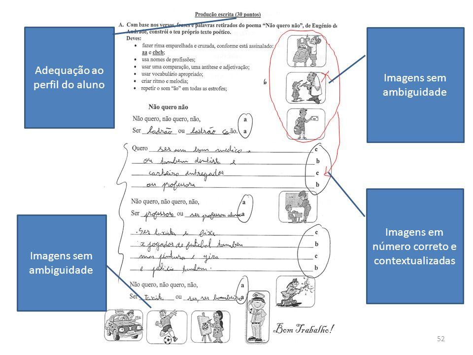52 Adequação ao perfil do aluno Imagens sem ambiguidade Imagens em número correto e contextualizadas