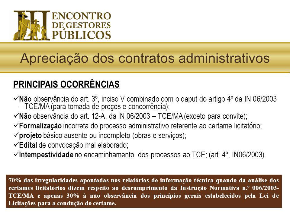 PRINCIPAIS OCORRÊNCIAS  Não observância do art. 3º, inciso V combinado com o caput do artigo 4º da IN 06/2003 – TCE/MA (para tomada de preços e conco