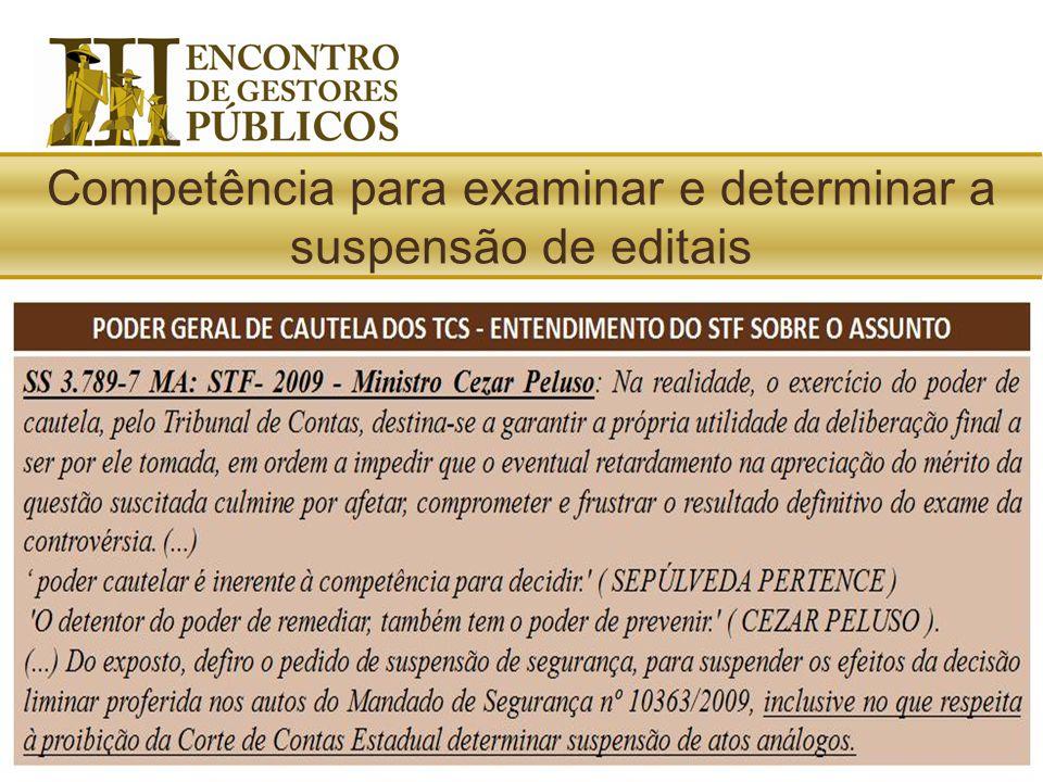 LOTCE/MA: Ao Tribunal de Contas compete (...) expedir medidas cautelares a fim de prevenir a ocorrência de lesão ao erário ou a direito alheio, objeti