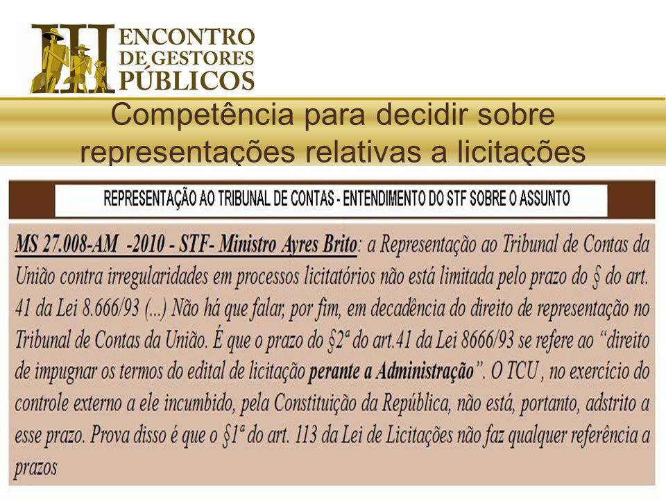 Lei de Licitações: Qualquer licitante, contratado ou pessoa física ou jurídica poderá representar ao Tribunal de Contas ou aos órgãos integrantes do s