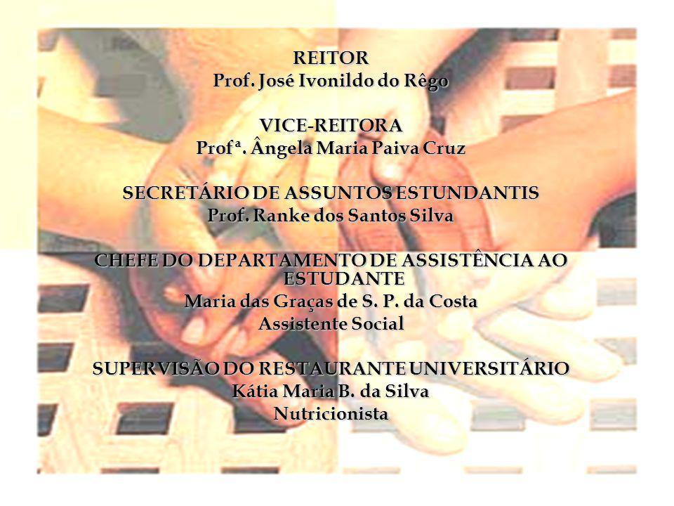 REITOR Prof. José Ivonildo do Rêgo VICE-REITORA Profª. Ângela Maria Paiva Cruz SECRETÁRIO DE ASSUNTOS ESTUNDANTIS Prof. Ranke dos Santos Silva CHEFE D