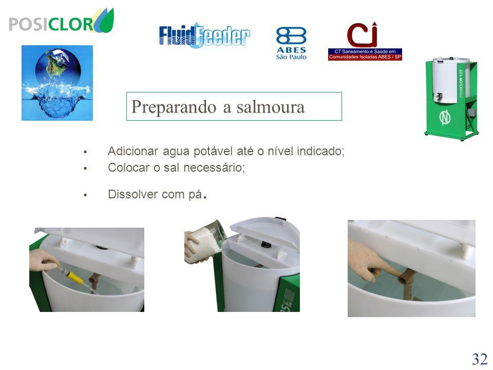 Qualidade do Sal  A qualidade do sal é de suma importância para o preparo da solução de hipoclorito  Recomendamos o uso Sal refinado para consumo hu