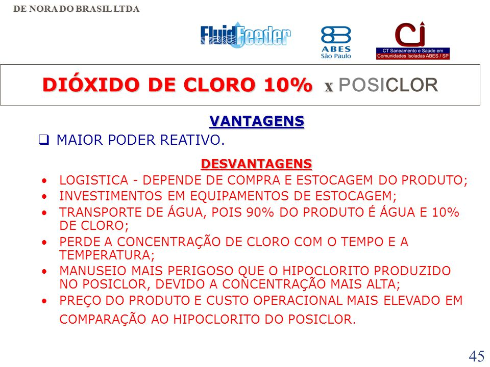 44 HIPOCLORITO DE CÁLCIO 65% - Grandes consumidores tipo ETA e ETE: R$ 6,78/kg => R$ 10,43 / kg de Cloro. - Pequenos consumidores tipo piscinas,etc.: