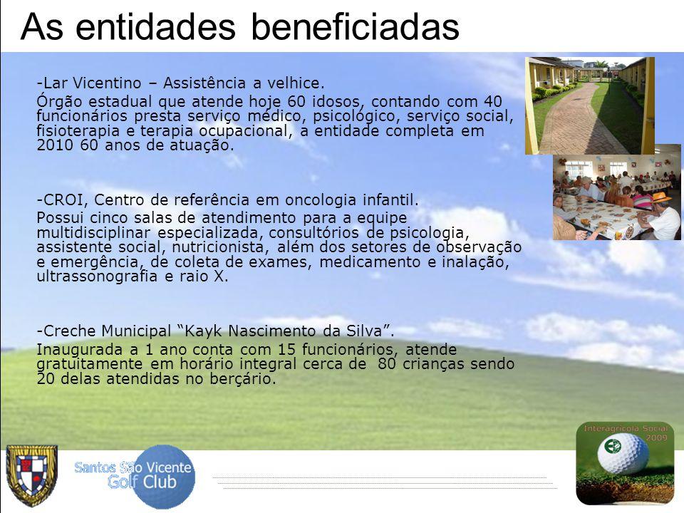 As entidades beneficiadas -Lar Vicentino – Assistência a velhice. Órgão estadual que atende hoje 60 idosos, contando com 40 funcionários presta serviç