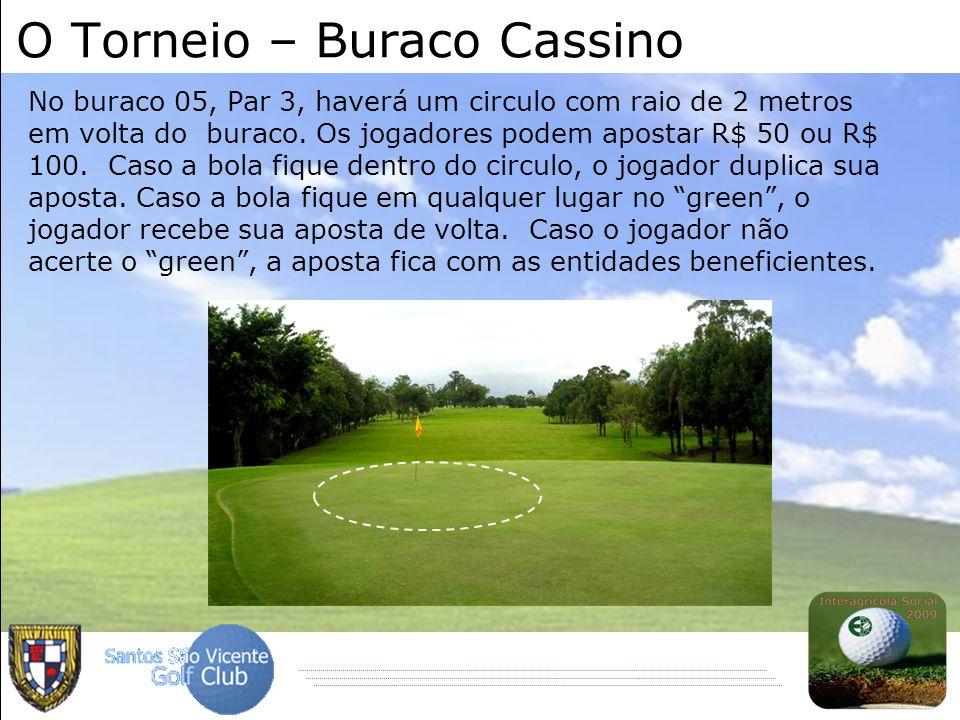 O Torneio – Buraco Cassino No buraco 05, Par 3, haverá um circulo com raio de 2 metros em volta do buraco. Os jogadores podem apostar R$ 50 ou R$ 100.