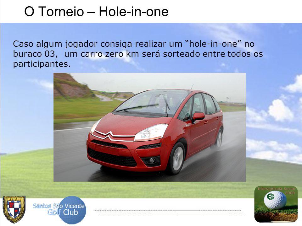 """O Torneio – Hole-in-one Caso algum jogador consiga realizar um """"hole-in-one"""" no buraco 03, um carro zero km será sorteado entre todos os participantes"""