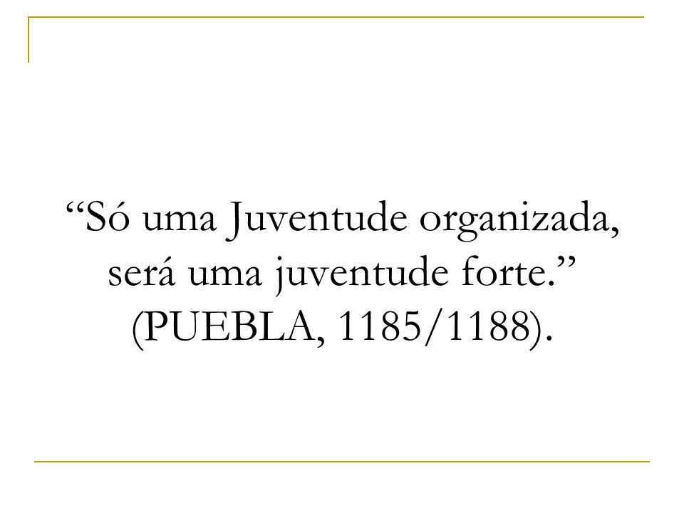 """""""Só uma Juventude organizada, será uma juventude forte."""" (PUEBLA, 1185/1188)."""