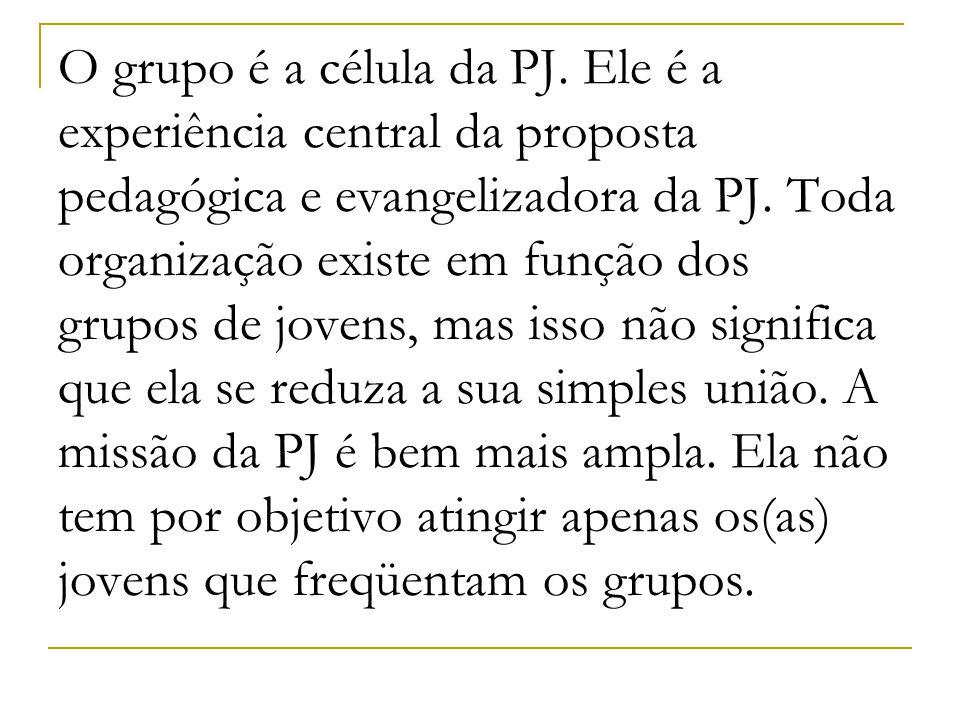 O grupo é a célula da PJ. Ele é a experiência central da proposta pedagógica e evangelizadora da PJ. Toda organização existe em função dos grupos de j