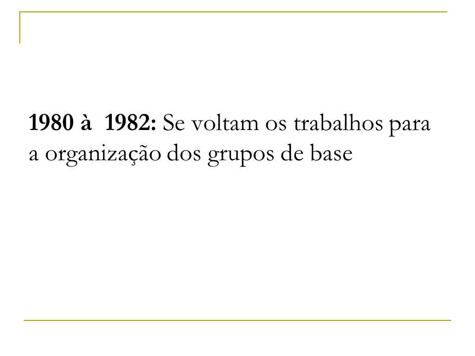 1980 à 1982: Se voltam os trabalhos para a organização dos grupos de base