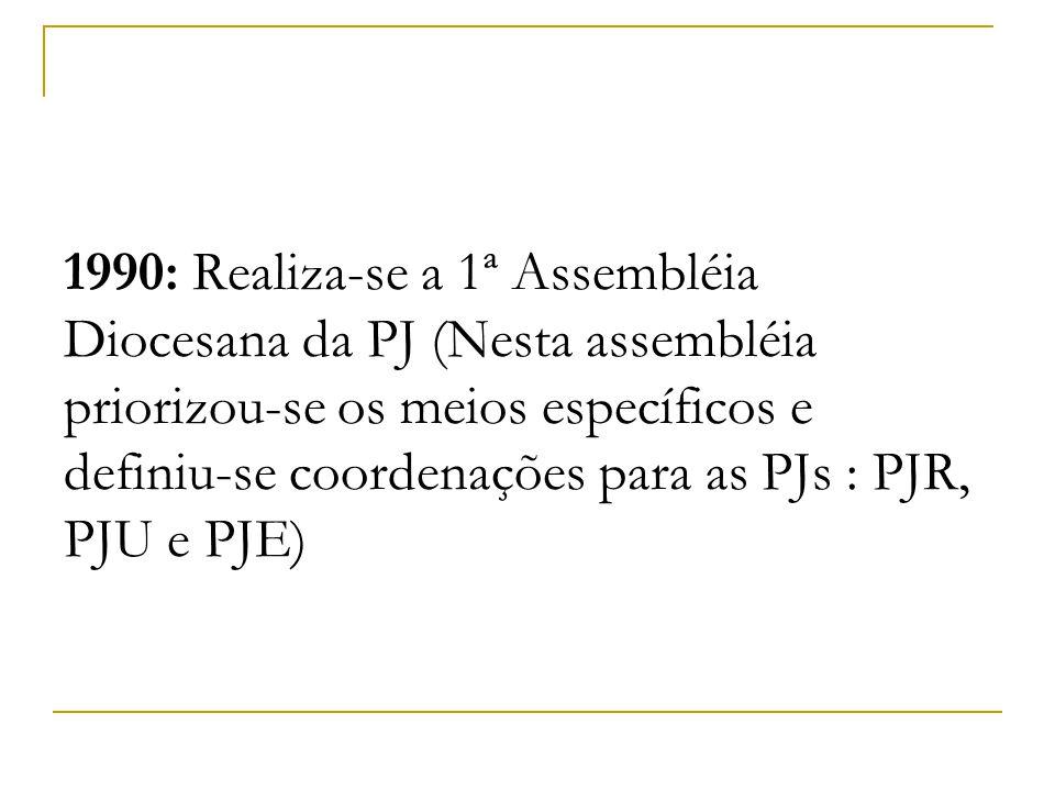 1990: Realiza-se a 1ª Assembléia Diocesana da PJ (Nesta assembléia priorizou-se os meios específicos e definiu-se coordenações para as PJs : PJR, PJU e PJE)