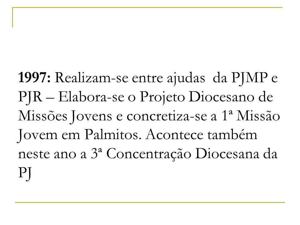 1997: Realizam-se entre ajudas da PJMP e PJR – Elabora-se o Projeto Diocesano de Missões Jovens e concretiza-se a 1ª Missão Jovem em Palmitos. Acontec