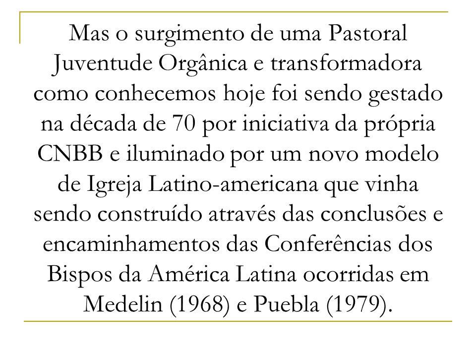 Mas o surgimento de uma Pastoral Juventude Orgânica e transformadora como conhecemos hoje foi sendo gestado na década de 70 por iniciativa da própria