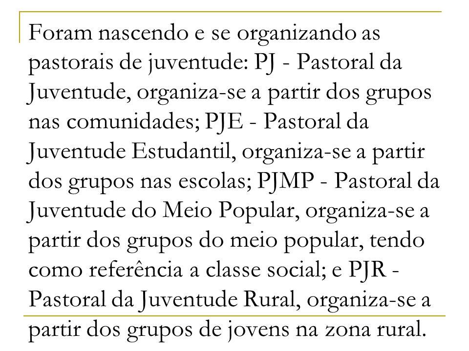 Foram nascendo e se organizando as pastorais de juventude: PJ - Pastoral da Juventude, organiza-se a partir dos grupos nas comunidades; PJE - Pastoral
