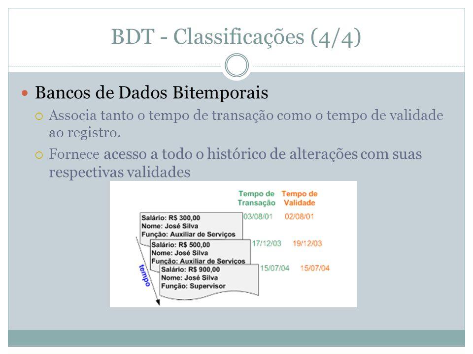 BDT - Classificações (4/4)  Bancos de Dados Bitemporais  Associa tanto o tempo de transação como o tempo de validade ao registro.  Fornece acesso a