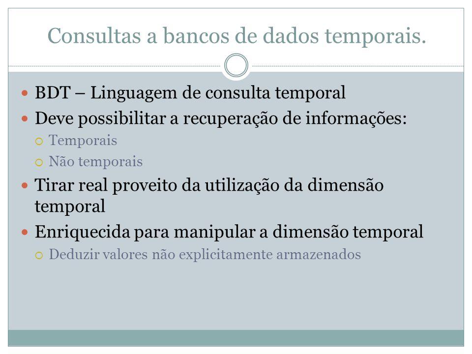 Consultas a bancos de dados temporais.  BDT – Linguagem de consulta temporal  Deve possibilitar a recuperação de informações:  Temporais  Não temp