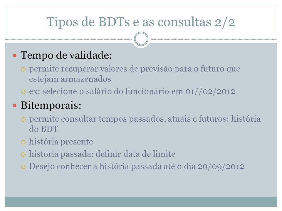 Tipos de BDTs e as consultas 2/2  Tempo de validade:  permite recuperar valores de previsão para o futuro que estejam armazenados  ex: selecione o