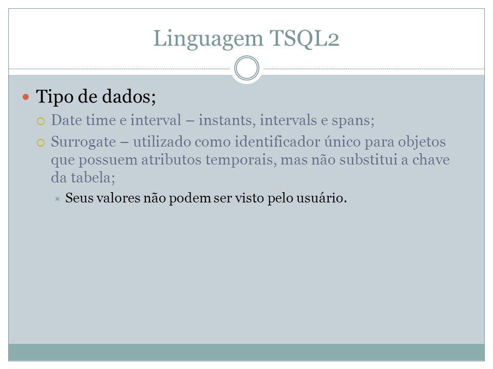 Linguagem TSQL2  Tipo de dados;  Date time e interval – instants, intervals e spans;  Surrogate – utilizado como identificador único para objetos que possuem atributos temporais, mas não substitui a chave da tabela;  Seus valores não podem ser visto pelo usuário.