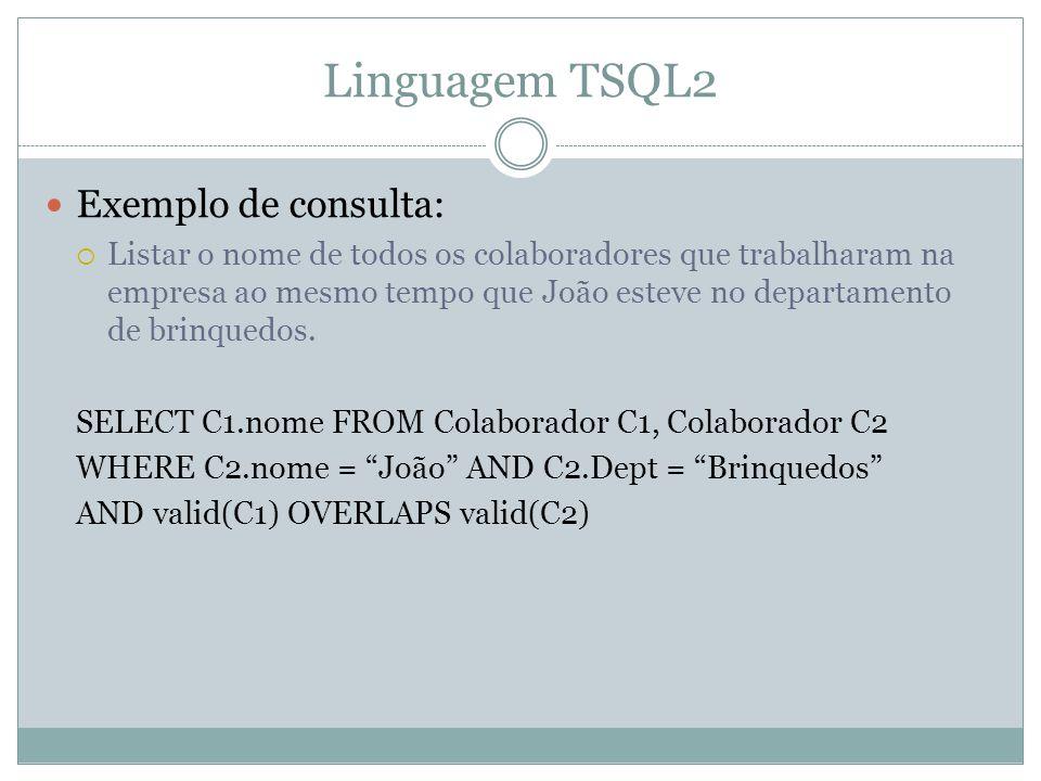Linguagem TSQL2  Exemplo de consulta:  Listar o nome de todos os colaboradores que trabalharam na empresa ao mesmo tempo que João esteve no departam