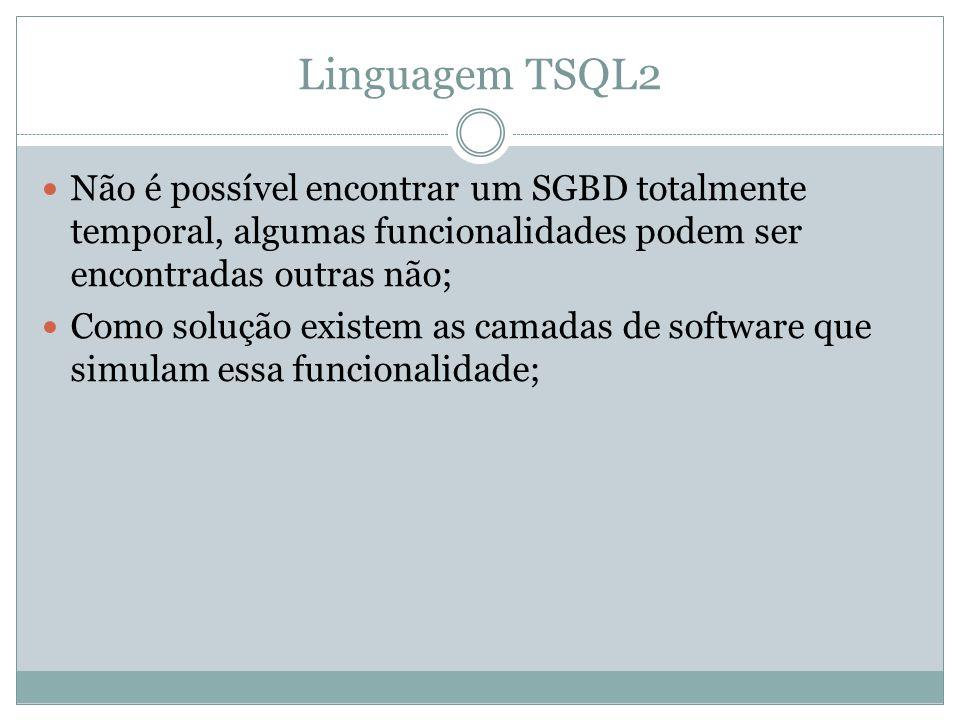Linguagem TSQL2  Não é possível encontrar um SGBD totalmente temporal, algumas funcionalidades podem ser encontradas outras não;  Como solução exist