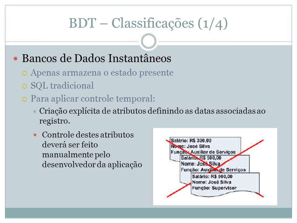 BDT – Classificações (1/4)  Bancos de Dados Instantâneos  Apenas armazena o estado presente  SQL tradicional  Para aplicar controle temporal:  Criação explícita de atributos definindo as datas associadas ao registro.