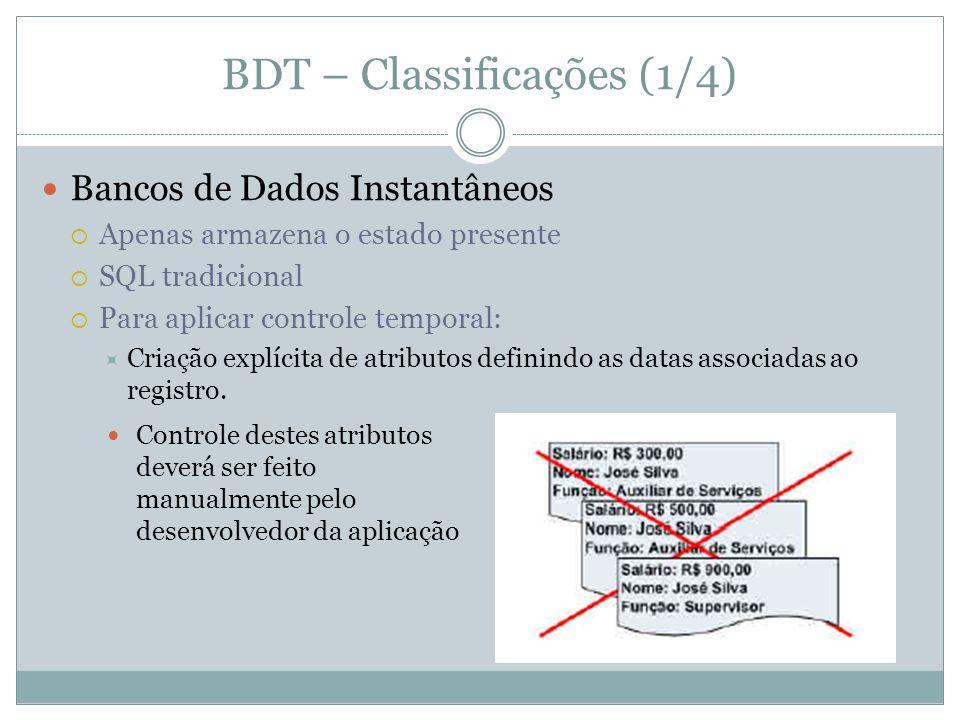 Consultas temporais  Componente de saída: valores solicitados  De dados - retorna exclusivamente valores de dados.