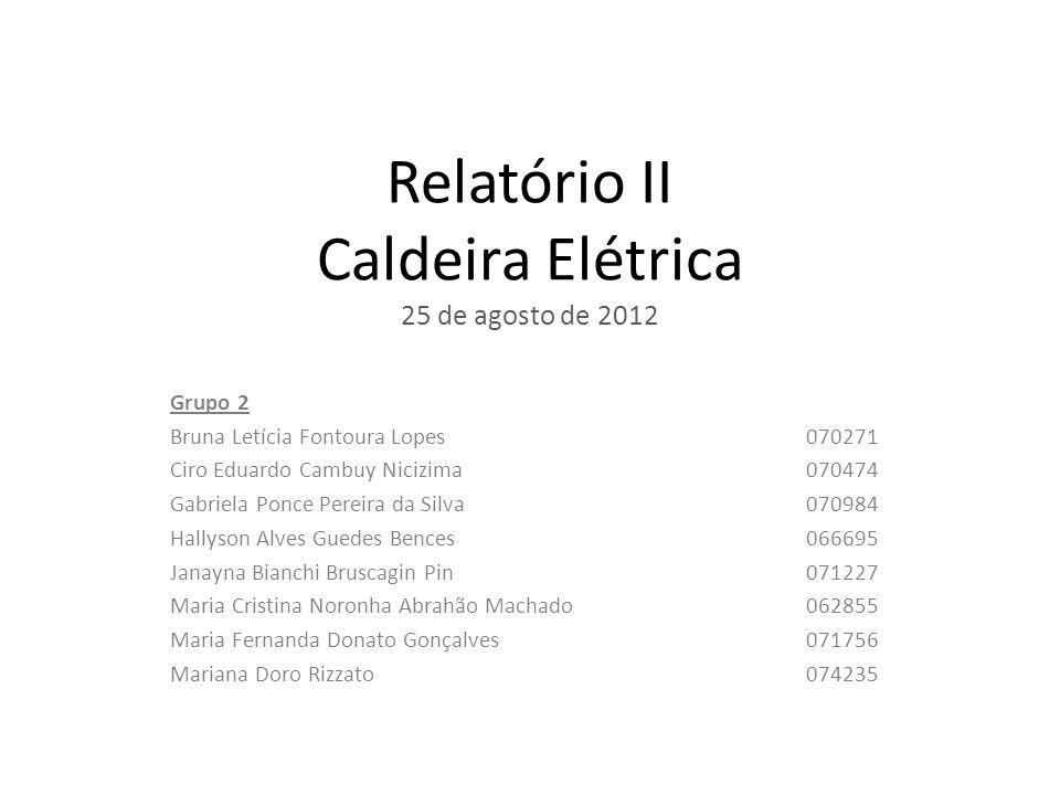 Relatório II Caldeira Elétrica 25 de agosto de 2012 Grupo 2 Bruna Letícia Fontoura Lopes 070271 Ciro Eduardo Cambuy Nicizima070474 Gabriela Ponce Pere