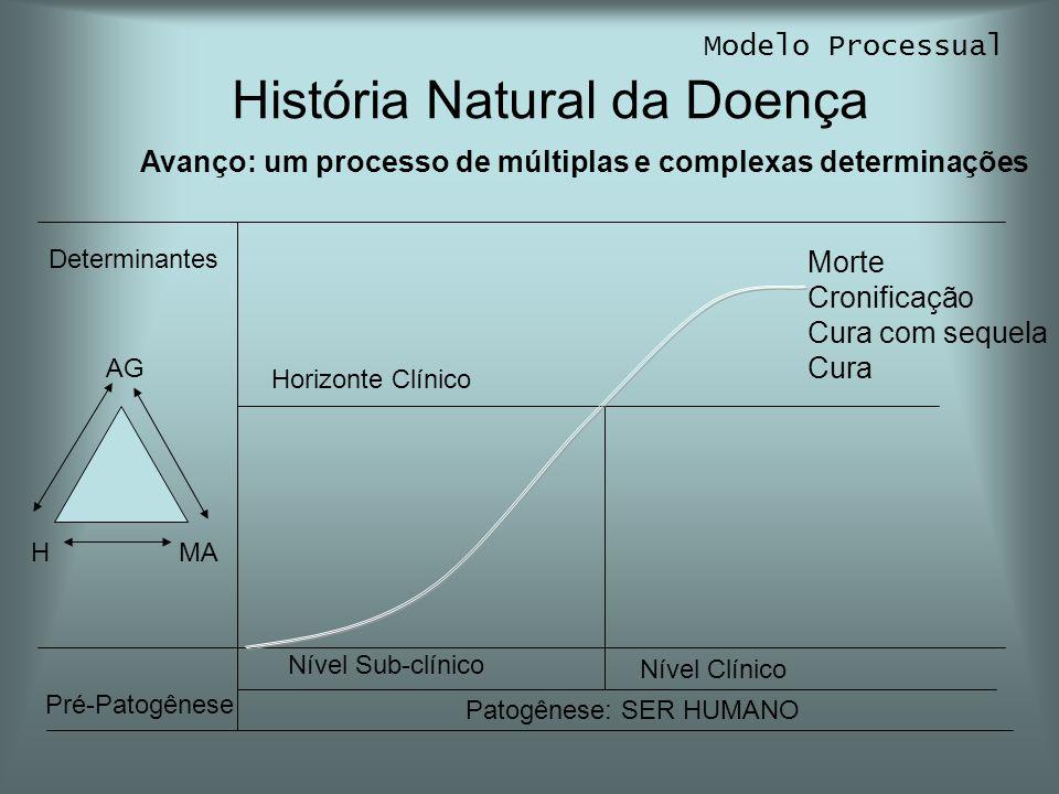 História Natural da Doença Modelo Processual Pré-Patogênese Patogênese: SER HUMANO AG MAH Horizonte Clínico Morte Cronificação Cura com sequela Cura D
