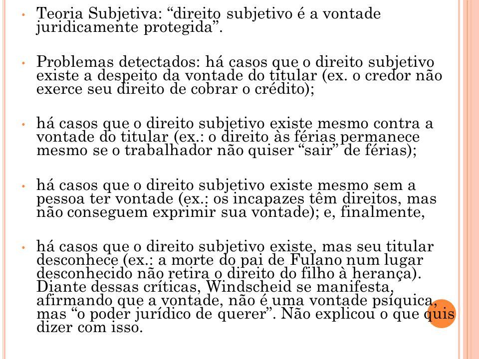 """• Teoria Subjetiva: """"direito subjetivo é a vontade juridicamente protegida"""". • Problemas detectados: há casos que o direito subjetivo existe a despeit"""