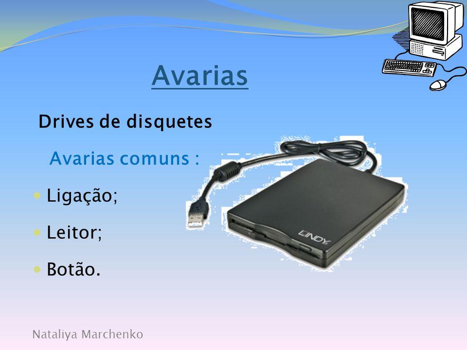 Nataliya Marchenko Avarias Discos Avarias comuns:  Ligação;  Leitor;  Cabeça.