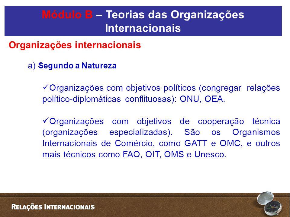 a) Segundo a Natureza  Organizações com objetivos políticos (congregar relações político-diplomáticas conflituosas): ONU, OEA.  Organizações com obj