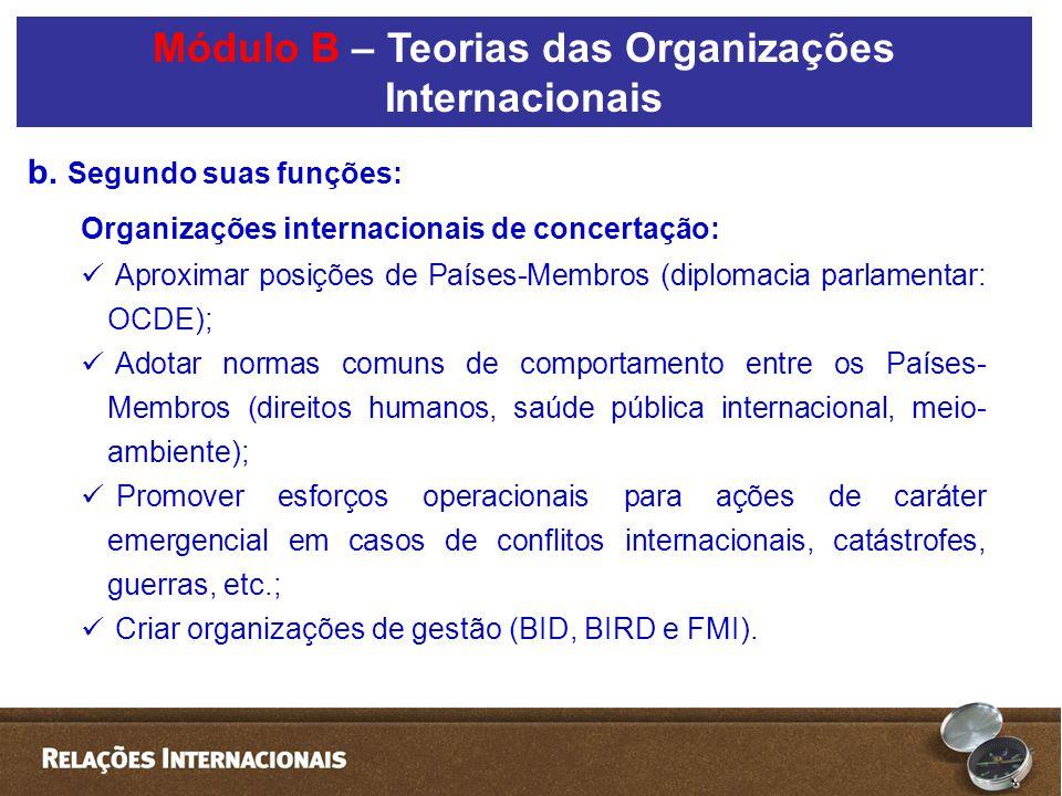 b. Segundo suas funções: Organizações internacionais de concertação:  Aproximar posições de Países-Membros (diplomacia parlamentar: OCDE);  Adotar n