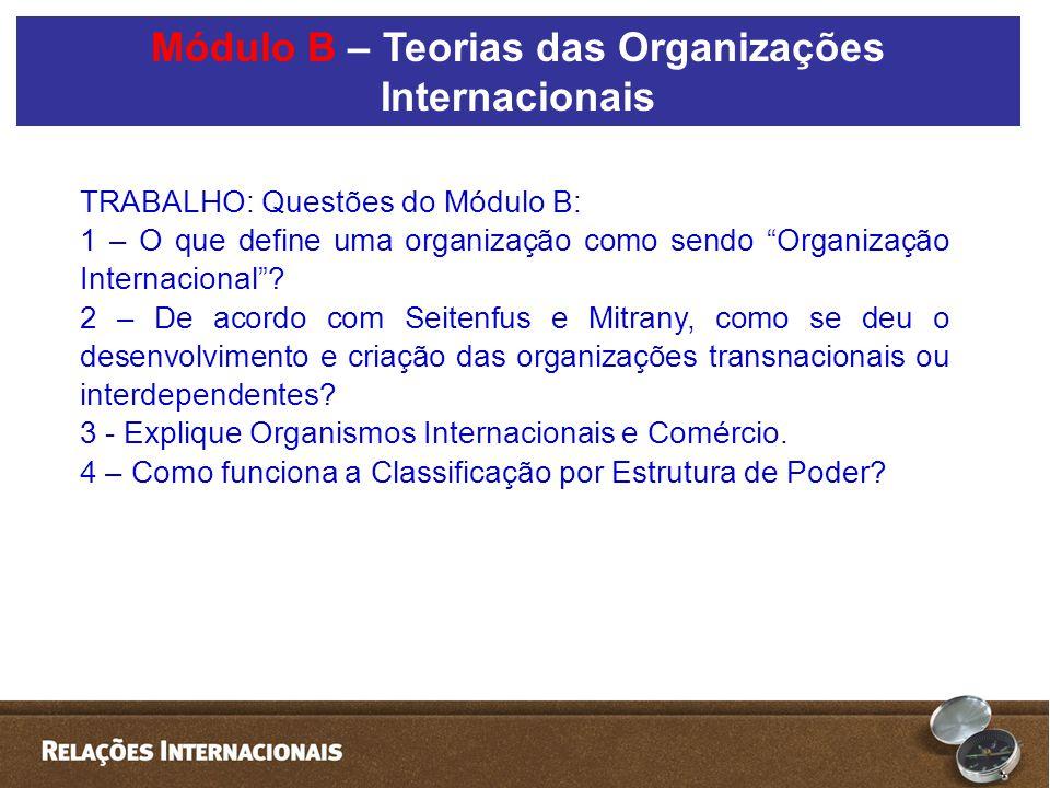 """TRABALHO: Questões do Módulo B: 1 – O que define uma organização como sendo """"Organização Internacional""""? 2 – De acordo com Seitenfus e Mitrany, como s"""