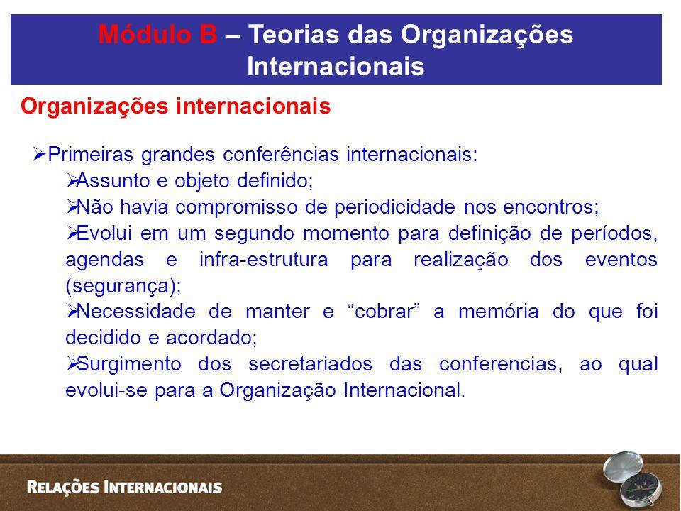  Primeiras grandes conferências internacionais:  Assunto e objeto definido;  Não havia compromisso de periodicidade nos encontros;  Evolui em um s