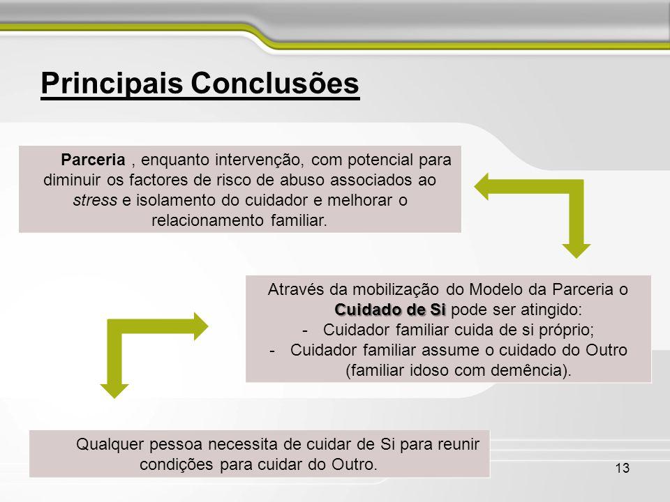13 Principais Conclusões Parceria, enquanto intervenção, com potencial para diminuir os factores de risco de abuso associados ao stress e isolamento d