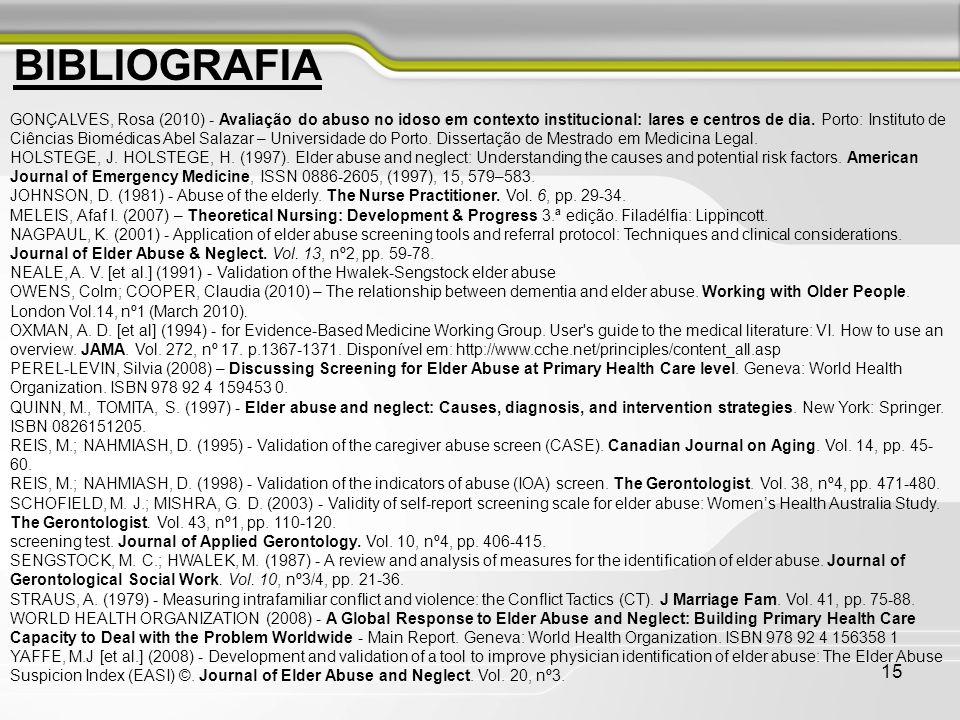 15 GONÇALVES, Rosa (2010) - Avaliação do abuso no idoso em contexto institucional: lares e centros de dia. Porto: Instituto de Ciências Biomédicas Abe