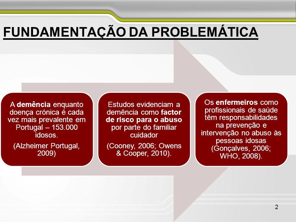 A demência enquanto doença crónica é cada vez mais prevalente em Portugal – 153.000 idosos. (Alzheimer Portugal, 2009) Estudos evidenciam a demência c