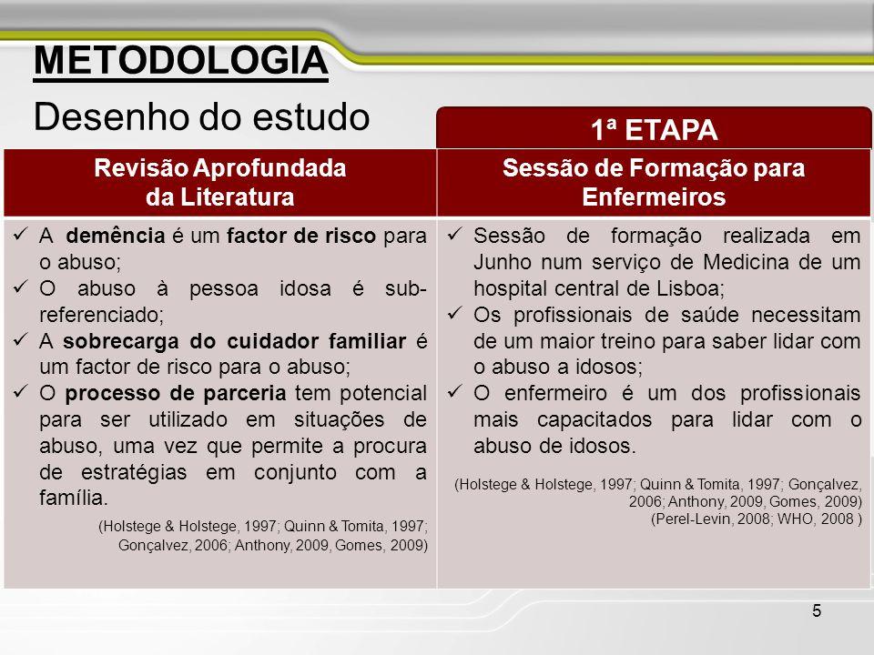 5 Desenho do estudo 1ª ETAPA Revisão Aprofundada da Literatura Sessão de Formação para Enfermeiros  A demência é um factor de risco para o abuso;  O