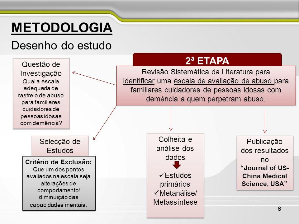 6 METODOLOGIA Desenho do estudo 2ª ETAPA Revisão Sistemática da Literatura para identificar uma escala de avaliação de abuso para familiares cuidadore