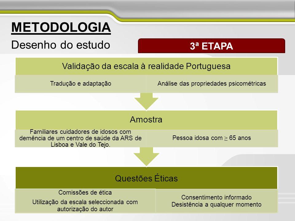 8 METODOLOGIA Desenho do estudo 4ª ETAPA Aplicação da escala seleccionada e validada a cuidadores familiares de pessoas idosas com demência Aplicação do Mini Mental State Examination Utentes inscritos no Programa de Cuidados Continuados de um Centro de Saúde da ARS de Lisboa e Vale do Tejo.