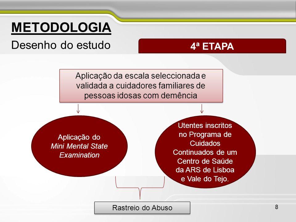 8 METODOLOGIA Desenho do estudo 4ª ETAPA Aplicação da escala seleccionada e validada a cuidadores familiares de pessoas idosas com demência Aplicação